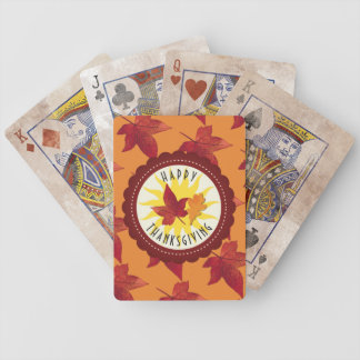 Fall Leaves Maple Thanksgiving Bicycle Playing Cards