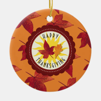 Fall Leaves Maple Thanksgiving Ceramic Ornament
