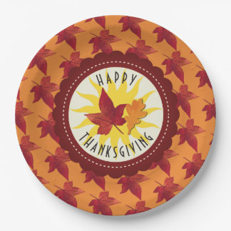 Fall Leaves Maple Thanksgiving Paper Plate