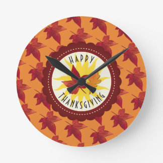 Fall Leaves Maple Thanksgiving Round Clock