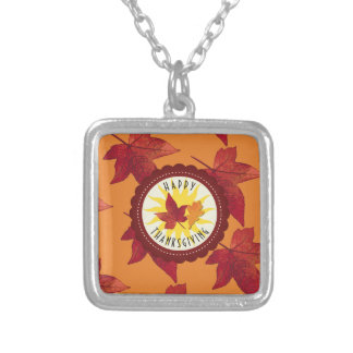Fall Leaves Maple Thanksgiving Silver Plated Necklace