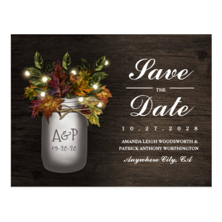 Fall Leaves Mason Jar Rustic Save The Date Cards