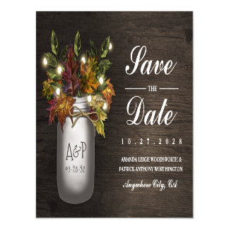 Fall Leaves Mason Jar Save the Date Magnets