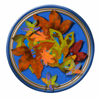 Fall Leaves on Blue Photo Sculpture