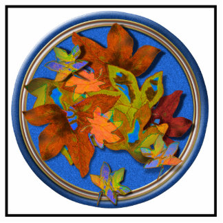 Fall Leaves on Blue Acrylic Cut Outs