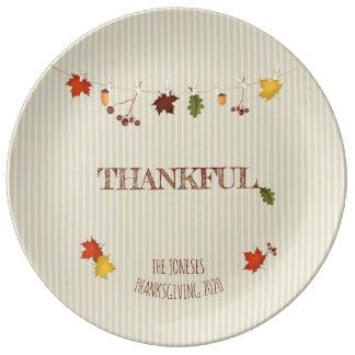 Fall Leaves on Clothesline Plate