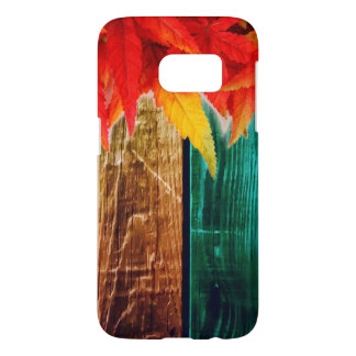 Fall Leaves on Colorful Grain Wall Samsung Galaxy S7 Case