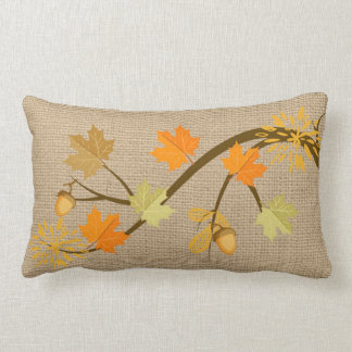 Fall Leaves on faux Burlap Pillow