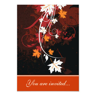 Fall leaves orange red white brown wedding card