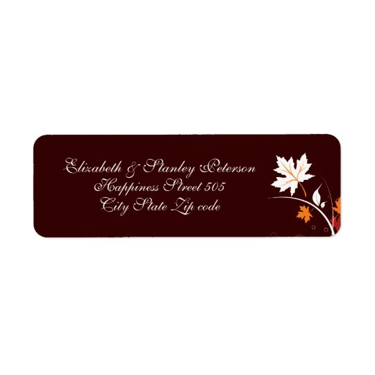 Fall leaves orange red white brown wedding label return address label