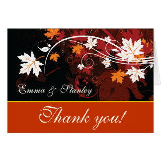 Fall leaves orange red white wedding Thank You Card
