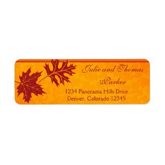 Fall Leaves Orange Wedding Return Address Labels