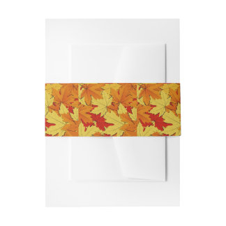 Fall Leaves Pattern Belly Band Invitation Belly Band