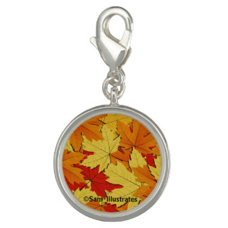 Fall Leaves Pattern Charm Bracelet Charm