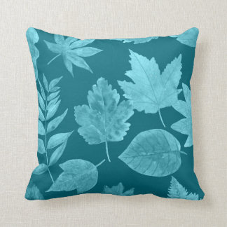 Fall leaves peacock blue, custom color available throw pillow