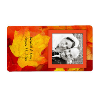 Fall Leaves Photo Wedding Wine Label Shipping Label