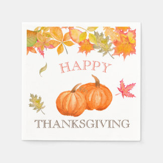 Fall Leaves Pumpkins Personalized Paper Napkin