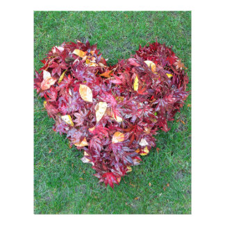 Fall Leaves Raked into Heart Shape on Green Grass Letterhead