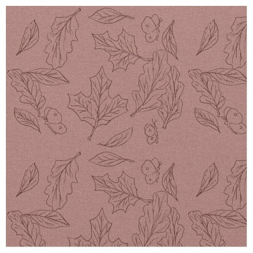 Fall Leaves Red Background Cottage Decor Fabric