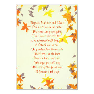 Fall Leaves Rehearsal Dinner Poem Invitation 4x6