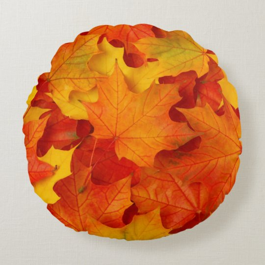 Fall Leaves Round Pillow