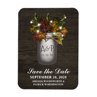 Fall Leaves Rustic Mason Jar Save the Date Magnets