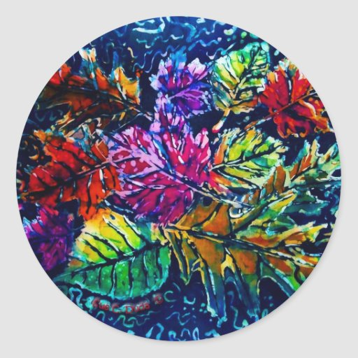FALL LEAVES ROUND STICKER