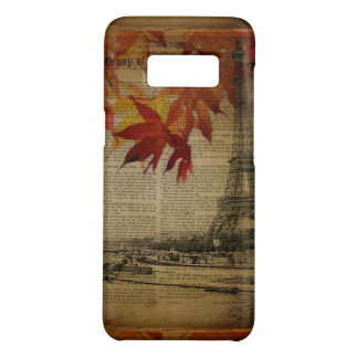 fall leaves Vintage Autumn Paris Eiffel tower Case-Mate Samsung Galaxy S8 Case
