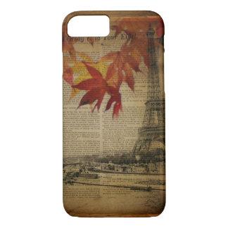 fall leaves Vintage Autumn Paris Eiffel tower iPhone 8/7 Case