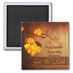 Fall leaves vintage distressed save the date magnets