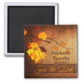 Fall leaves vintage distressed save the date magnet