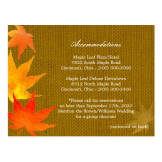 Fall Leaves Wedding Accommodations + Directions Postcard
