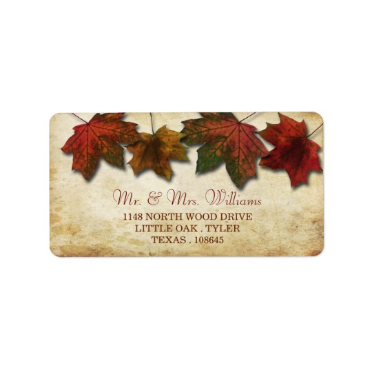 Fall Leaves Wedding Labels
