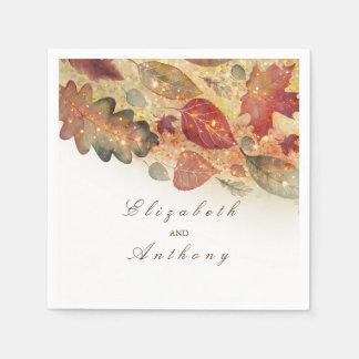 Fall Leaves Wedding Paper Napkin