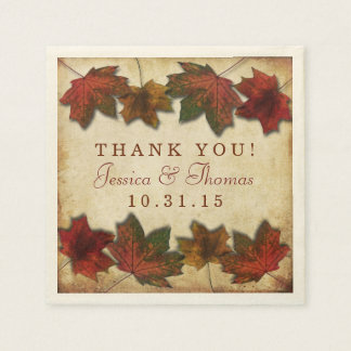 Fall Leaves Wedding Paper Napkins