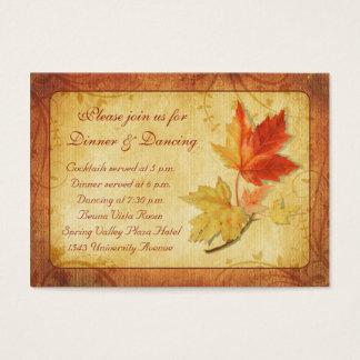 Fall Leaves Wedding Reception Card
