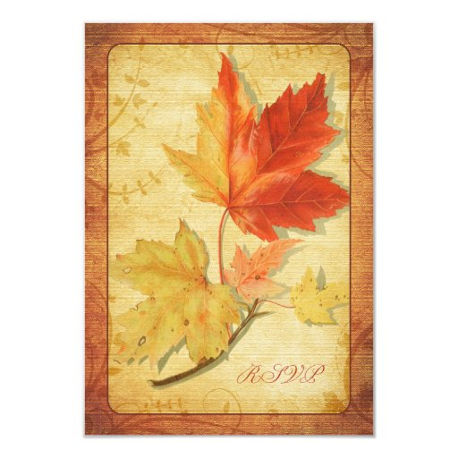 """Fall Leaves Wedding Reply Card (RSVP Card) 3.5"""" X 5"""" Invitation Card"""