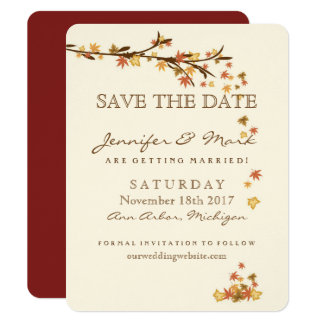 Fall Leaves Wedding Save the Date Card