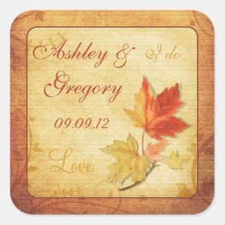Fall Leaves Wedding Sticker or Envelope Seal