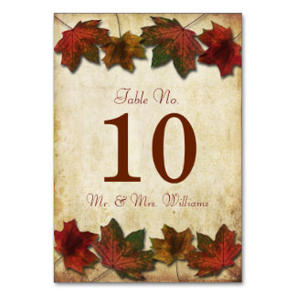 Fall Leaves Wedding Table Number Cards Table Cards