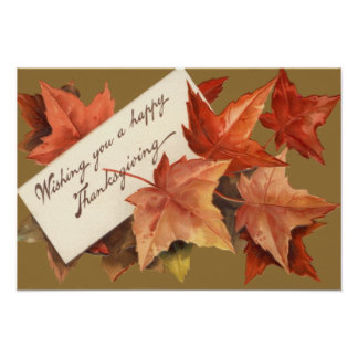 Fall Leaves Wishing You A Happy Thanksgiving Poster