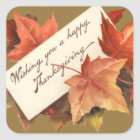 Fall Leaves Wishing You A Happy Thanksgiving Square Sticker