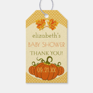 Fall Leaves with Pumpkins Shower Thank You Pack Of Gift Tags