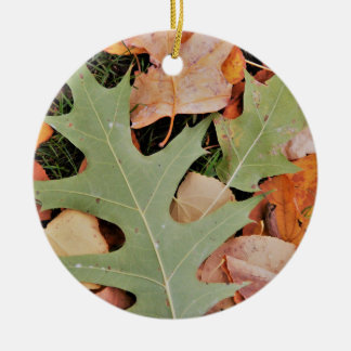 Fall leaves with yellows and green ceramic ornament