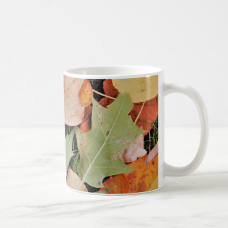 Fall leaves with yellows and green coffee mug