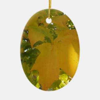 Fall Leaves-Yellow Ceramic Oval Ornament
