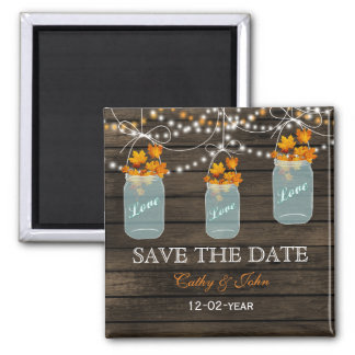 fall leavesin a mason jar save the Date Square Magnet