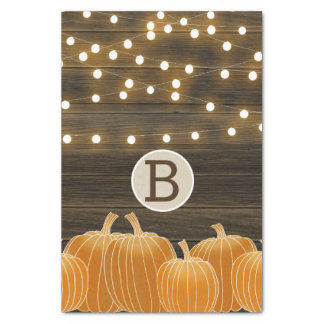 Fall Lights & Pumpkins Monogram Letter Initial Tissue Paper