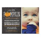 Fall Little Pumpkin Photo 1st Birthday Party Card