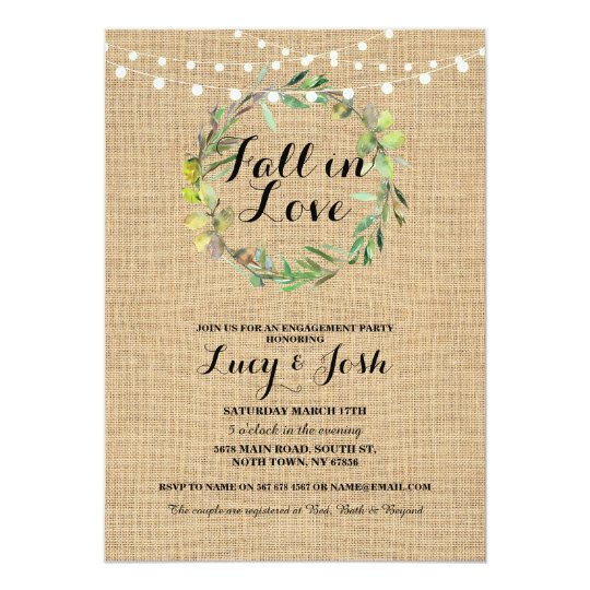 Fall Love Wreath Burlap Engagement Floral Invite